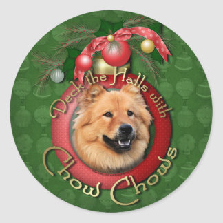 Christmas - Deck the Halls - Chows - Cinny Round Stickers