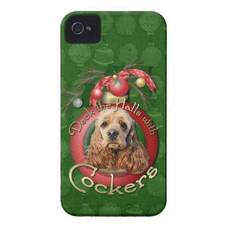 Christmas - Deck the Halls - Cockers iPhone 4 Case-Mate Case