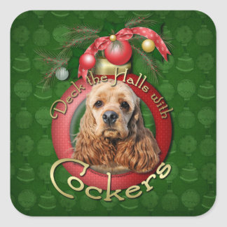 Christmas - Deck the Halls - Cockers Square Stickers