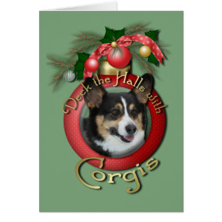 Christmas - Deck the Halls - Corgis Card