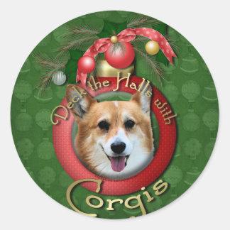 Christmas - Deck the Halls - Corgis - Owen Classic Round Sticker