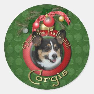Christmas - Deck the Halls - Corgis Round Sticker