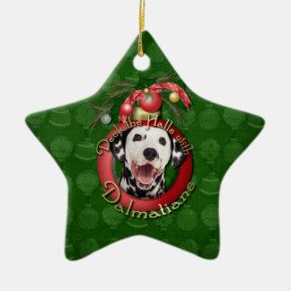 Christmas - Deck the Halls - Dalmatians Ceramic Star Decoration