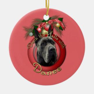 Christmas - Deck the Halls - Danes - Grey Christmas Ornament