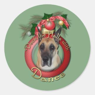 Christmas - Deck the Halls - Danes Round Sticker