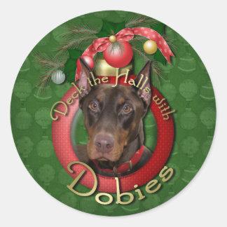 Christmas - Deck the Halls - Dobies - Rocky Round Sticker
