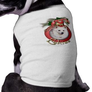 Christmas - Deck the Halls - Eskies Dog Tee Shirt