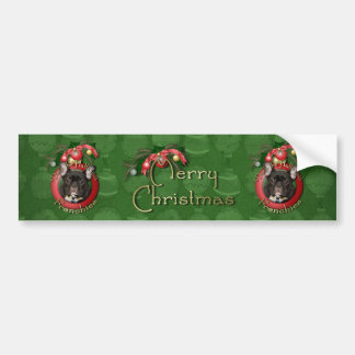 Christmas - Deck the Halls - Frenchies - Teal Bumper Sticker