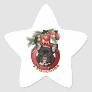 Christmas - Deck the Halls - Frenchies - Teal Star Sticker