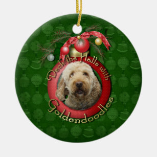 christmas deck the halls goldendoodles christmas ornament - Goldendoodle Christmas Decorations