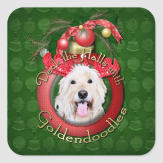 Christmas - Deck the Halls - GoldenDoodles - Daisy Square Sticker