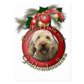 Christmas - Deck the Halls - Goldendoodles Postcard