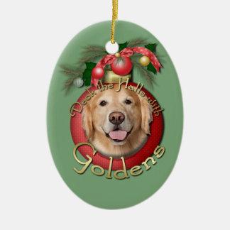 Christmas - Deck the Halls - Goldens - Corona Christmas Ornament