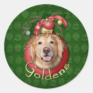 Christmas - Deck the Halls - Goldens - Corona Classic Round Sticker