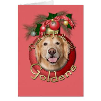 Christmas - Deck the Halls - Goldens - Corona Greeting Card