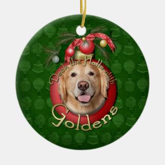 Christmas - Deck the Halls - Goldens - Corona Round Ceramic Decoration