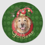 Christmas - Deck the Halls - Goldens - Corona Round Stickers