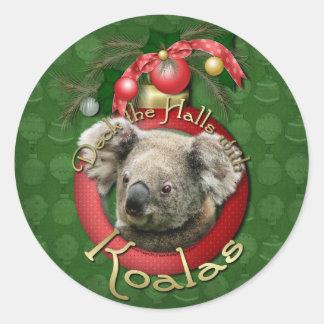 Christmas - Deck the Halls - Koalas Classic Round Sticker