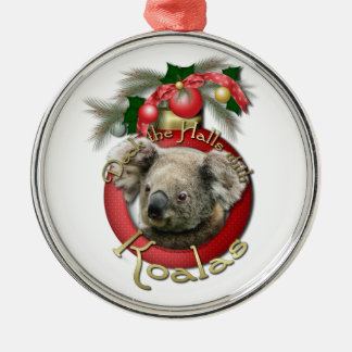Christmas - Deck the Halls - Koalas Silver-Colored Round Decoration