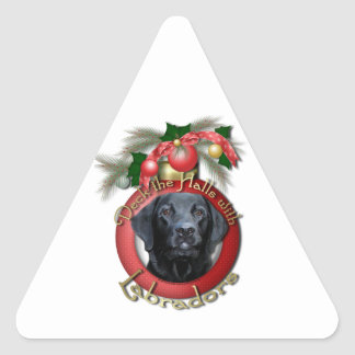 Christmas - Deck the Halls - Labradors - Black Stickers