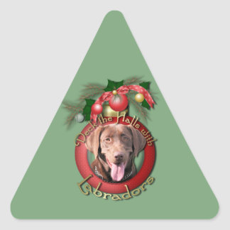 Christmas - Deck the Halls - Labradors - Chocolate Triangle Sticker