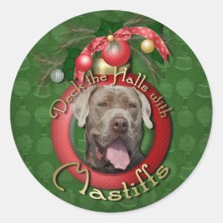 Christmas - Deck the Halls - Mastiffs - Snoop Round Sticker