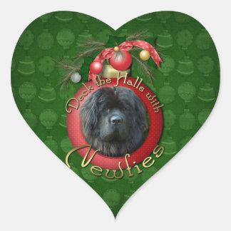 Christmas - Deck the Halls - Newfie Heart Sticker