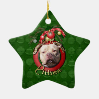 Christmas - Deck the Halls - Pitties - Jersey Girl Christmas Ornament