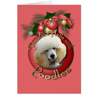 Christmas - Deck the Halls - Poodles - Apricot Card