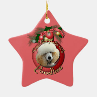 Christmas - Deck the Halls - Poodles - Apricot Christmas Ornament
