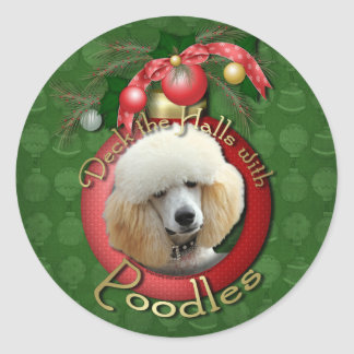 Christmas - Deck the Halls - Poodles - Apricot Round Sticker