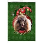 Christmas - Deck the Halls - Poodles - Chocolate Greeting Card