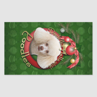Christmas - Deck the Halls - Poodles - White Rectangular Sticker