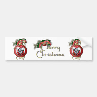 Christmas - Deck the Halls - Pugs - Angel Bumper Sticker