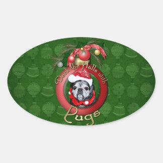 Christmas - Deck the Halls - Pugs - Angel Oval Sticker