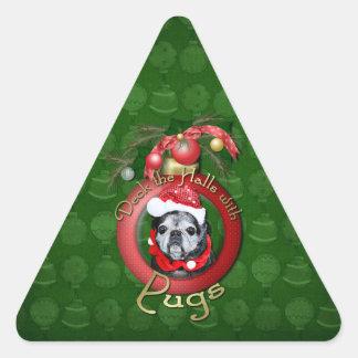 Christmas - Deck the Halls - Pugs - Angel Triangle Sticker