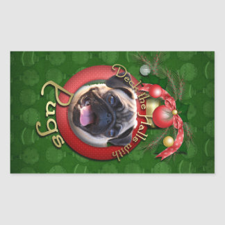 Christmas - Deck the Halls - Pugs Rectangle Stickers