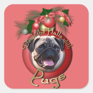 Christmas - Deck the Halls - Pugs Square Sticker
