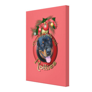 Christmas - Deck the Halls - Rotties - Harley Canvas Print