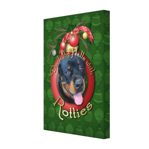 Christmas - Deck the Halls - Rotties - Harley Canvas Prints
