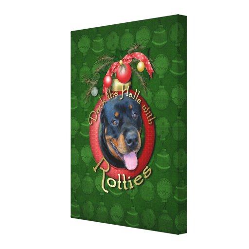 Christmas - Deck the Halls - Rotties - Harley Canvas Print