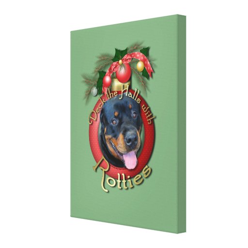 Christmas - Deck the Halls - Rotties - Harley Stretched Canvas Prints