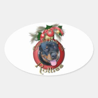 Christmas - Deck the Halls - Rotties - Harley Oval Sticker