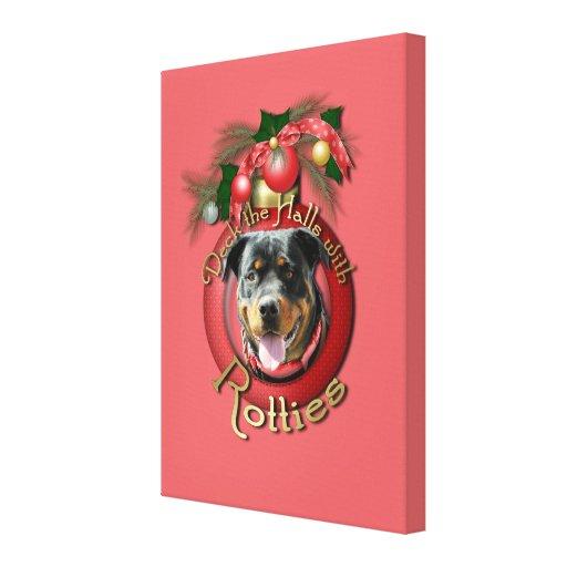 Christmas - Deck the Halls - Rotties - SambaParTi Canvas Print
