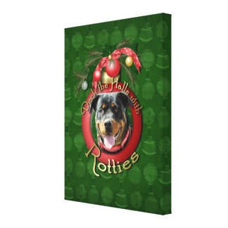 Christmas - Deck the Halls - Rotties - SambaParTi Stretched Canvas Print