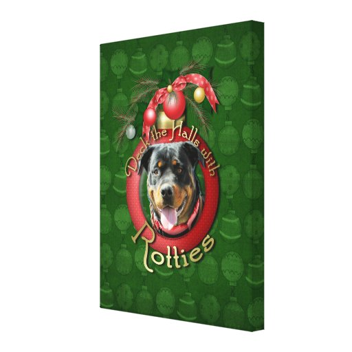 Christmas - Deck the Halls - Rotties - SambaParTi Stretched Canvas Print