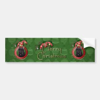 Christmas - Deck the Halls - Schnauzer Bumper Sticker