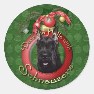 Christmas - Deck the Halls - Schnauzer Classic Round Sticker