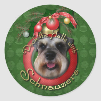 Christmas - Deck the Halls - Schnauzers Classic Round Sticker