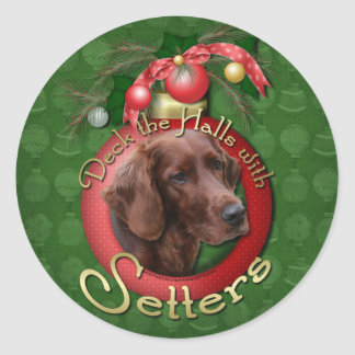 Christmas - Deck the Halls - Setters Round Stickers